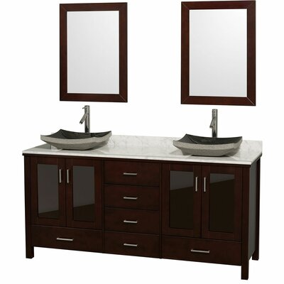 Lucy 72 Double Espresso Bathroom Vanity Set with Mirror Top Finish: White Carrera Marble, Sink Finish: Black Granite