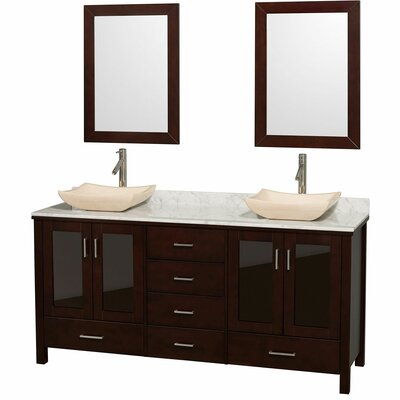 Lucy 72 Double Espresso Bathroom Vanity Set with Mirror Top Finish: White Carrera Marble, Sink Finish: Bone Porcelain