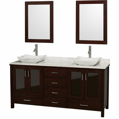 Lucy 72 Double Espresso Bathroom Vanity Set with Mirror Top Finish: White Carrera Marble, Sink Finish: White Porcelain