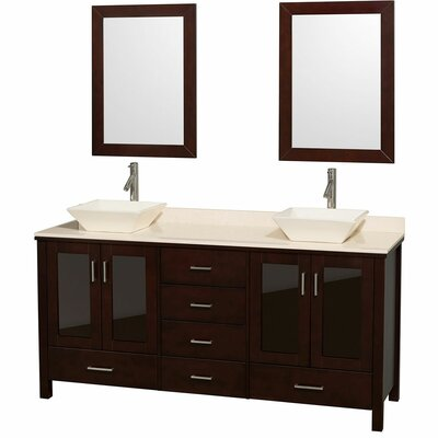 Lucy 72 Double Espresso Bathroom Vanity Set with Mirror Top Finish: Ivory Marble, Sink Finish: Ivory Marble
