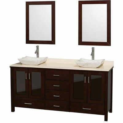 Lucy 72 Double Espresso Bathroom Vanity Set with Mirror Top Finish: Ivory Marble, Sink Finish: White Porcelain