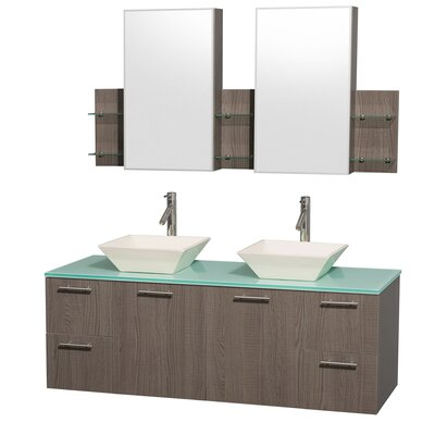 Amare 60 Double Gray Oak Bathroom Vanity Set with Medicine Cabinet Top Finish: Green Glass, Sink Finish: Bone Porcelain