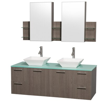Amare 60 Double Gray Oak Bathroom Vanity Set with Medicine Cabinet Top Finish: Green Glass, Sink Finish: White Porcelain