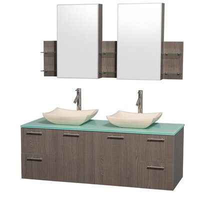 Amare 60 Double Gray Oak Bathroom Vanity Set with Medicine Cabinet Top Finish: Green Glass, Sink Finish: Ivory Marble