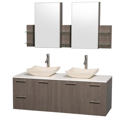 Amare 60 Double Gray Oak Bathroom Vanity Set with Medicine Cabinet Top Finish: White Man-Made Stone, Sink Finish: Ivory Marble