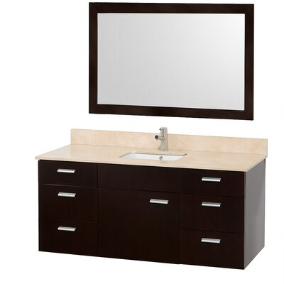 Encore 52 Single Bathroom Vanity Set with Mirror Top Finish: Ivory Marble, Sink Finish: White Carrera Marble