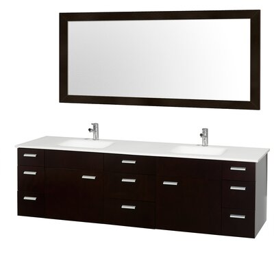 Encore 78 Double Bathroom Vanity Set with Mirror Sink Finish: White Porcelain, Top Finish: White Man-Made Stone