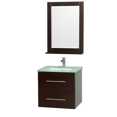Centra 24 Single Espresso Bathroom Vanity Set with Mirror Top Finish: Green Glass