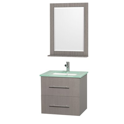 Centra 24 Single Gray Oak Bathroom Vanity Set with Mirror Top Finish: White Man-Made Stone