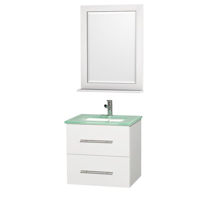 Centra 24 Single White Bathroom Vanity Set with Mirror Top Finish: Green Glass