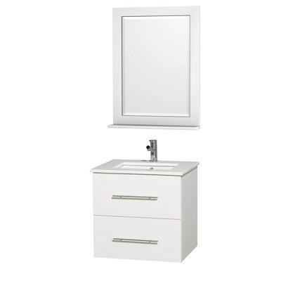 Centra 24 Single White Bathroom Vanity Set with Mirror Top Finish: White Man-Made Stone