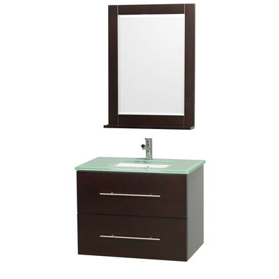 Centra 30 Single Espresso Bathroom Vanity Set with Mirror Top Finish: Green Glass