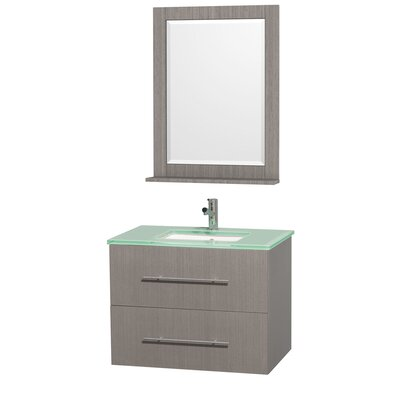 Centra 30 Single Gray Oak Bathroom Vanity Set with Mirror Top Finish: Green Glass