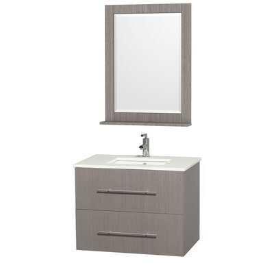 Centra 30 Single Gray Oak Bathroom Vanity Set with Mirror Top Finish: White Man-Made Stone