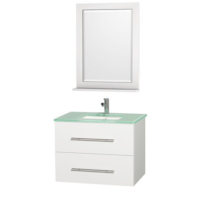 Centra 30 Single White Bathroom Vanity Set with Mirror Top Finish: Green Glass