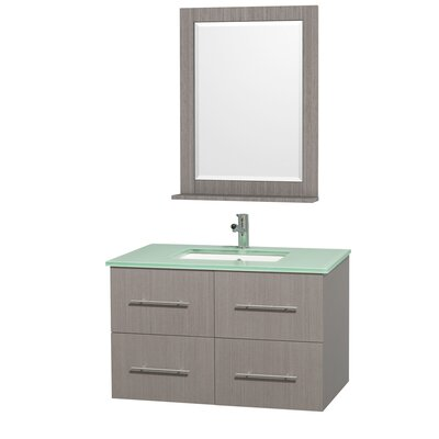 Centra 36 Single Gray Oak Bathroom Vanity Set with Mirror Top Finish: Green Glass