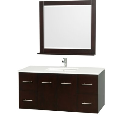Centra 48 Single Espresso Bathroom Vanity Set with Mirror Top Finish: White Man-Made Stone