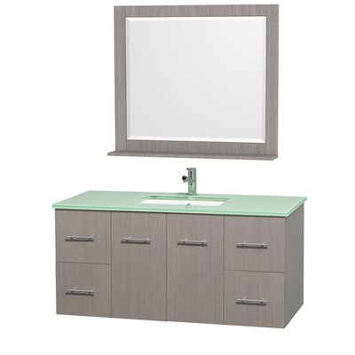 Centra 48 Single Gray Oak Bathroom Vanity Set with Mirror Top Finish: Green Glass