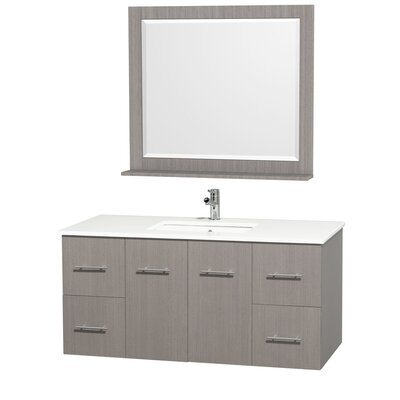 Centra 48 Single Gray Oak Bathroom Vanity Set with Mirror Top Finish: White Man-Made Stone