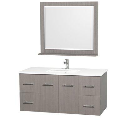 Centra 48 Single Gray Oak Bathroom Vanity Set with Mirror Top Finish: White Man-Made Stone