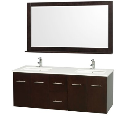 Centra 60 Double Espresso Bathroom Vanity Set with Mirror Top Finish: White Man-Made Stone