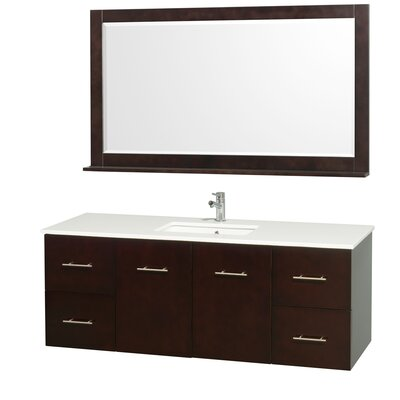 Centra 60 Single Espresso Bathroom Vanity Set with Mirror Top Finish: Green Glass