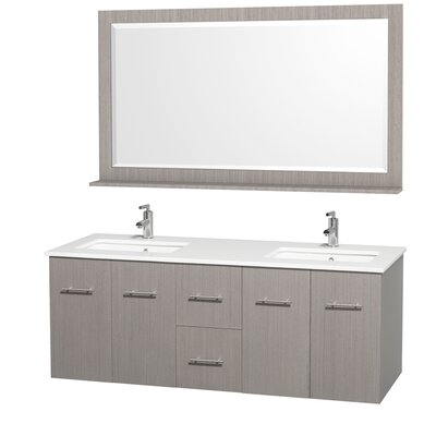 Centra 60 Double Gray Oak Bathroom Vanity Set with Mirror Top Finish: Green Glass