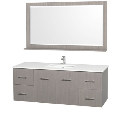 Centra 60 Single Gray Oak Bathroom Vanity Set with Mirror Top Finish: Green Glass
