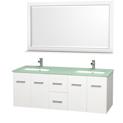 Centra 60 Double White Bathroom Vanity Set with Mirror Top Finish: Green Glass