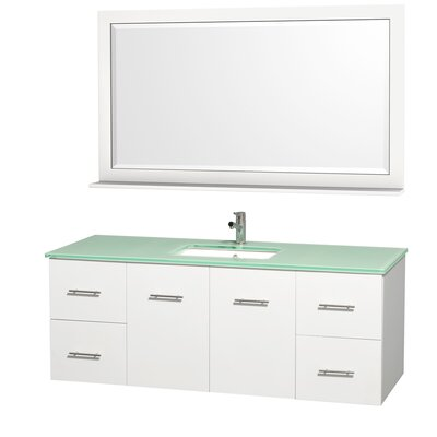 Centra 60 Single White Bathroom Vanity Set with Mirror Top Finish: Green Glass