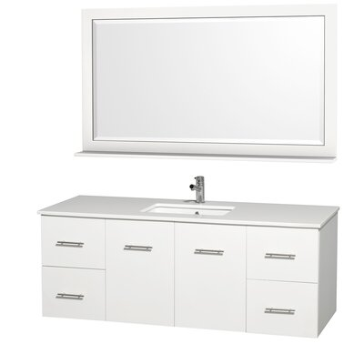 Centra 60 Double White Bathroom Vanity Set with Mirror Top Finish: White Man-Made Stone
