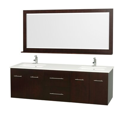 Centra 72 Double Espresso Bathroom Vanity Set with Mirror Top Finish: White Man-Made Stone