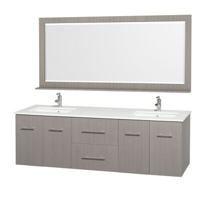 Centra 72 Double Gray Oak Bathroom Vanity Set with Mirror Top Finish: White Man-Made Stone