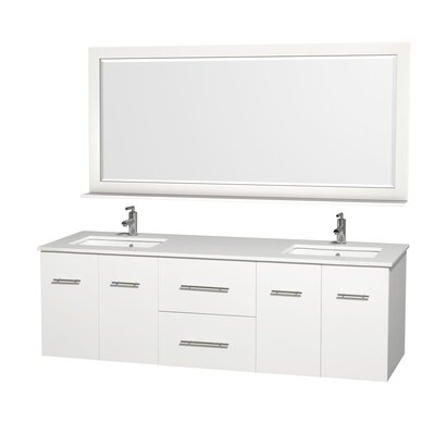 Centra 72 Double White Bathroom Vanity Set with Mirror Top Finish: Green Glass