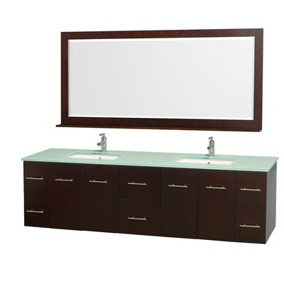Centra 80 Double Espresso Bathroom Vanity Set with Mirror Top Finish: Green Glass
