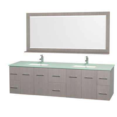 Centra 80 Double Gray Oak Bathroom Vanity Set with Mirror Top Finish: Green Glass