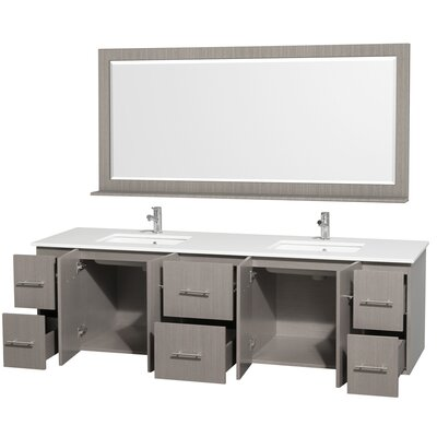 Centra 80 Double Gray Oak Bathroom Vanity Set with Mirror Top Finish: White Man-Made Stone
