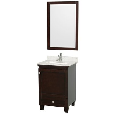 Acclaim 24 Single Espresso Bathroom Vanity Set with Mirror Top Finish: White Carrera Marble