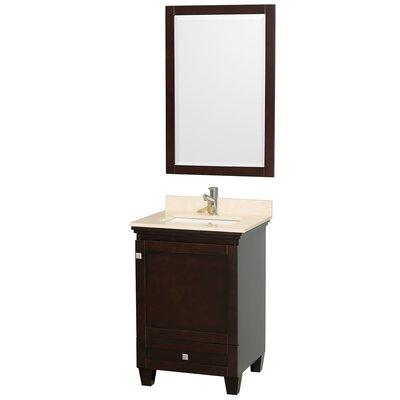 Acclaim 24 Single Espresso Bathroom Vanity Set with Mirror Top Finish: Ivory Marble