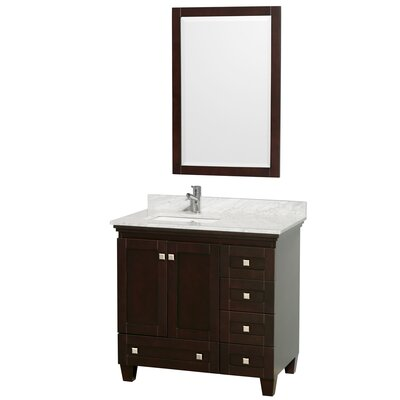 Acclaim 36 Single Espresso Bathroom Vanity Set with Mirror Top Finish: White Carrera Marble