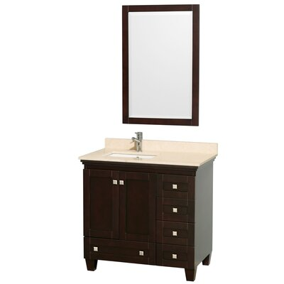 Acclaim 36 Single Espresso Bathroom Vanity Set with Mirror Top Finish: Ivory Marble