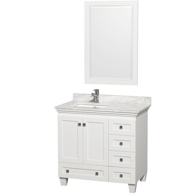 Acclaim 36 Single White Bathroom Vanity Set with Mirror Top Finish: White Carrera Marble