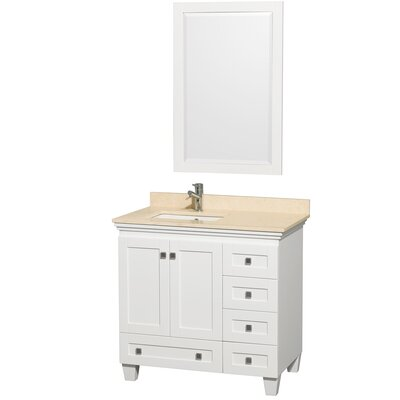Acclaim 36 Single White Bathroom Vanity Set with Mirror Top Finish: Ivory Marble