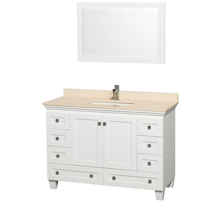 Acclaim 48 Single White Bathroom Vanity Set with Mirror Top Finish: Ivory Marble