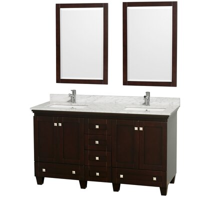 Acclaim 60 Double Espresso Bathroom Vanity Set with Mirror Top Finish: White Carrera Marble