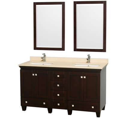 Acclaim 60 Double Espresso Bathroom Vanity Set with Mirror Top Finish: Ivory Marble