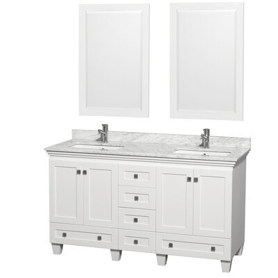 Acclaim 60 Double White Bathroom Vanity Set with Mirror Top Finish: White Carrera Marble