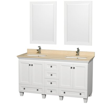 Acclaim 60 Double White Bathroom Vanity Set with Mirror Top Finish: Ivory Marble