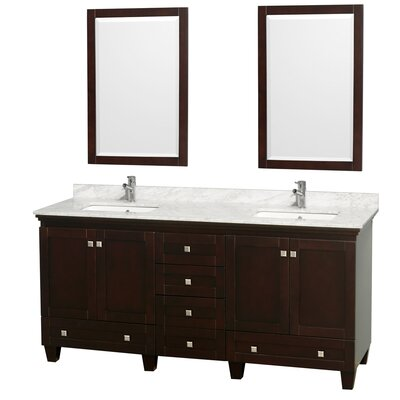 Acclaim 72 Double Espresso Bathroom Vanity Set with Mirror Top Finish: White Carrera Marble