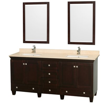 Acclaim 72 Double Espresso Bathroom Vanity Set with Mirror Top Finish: Ivory Marble